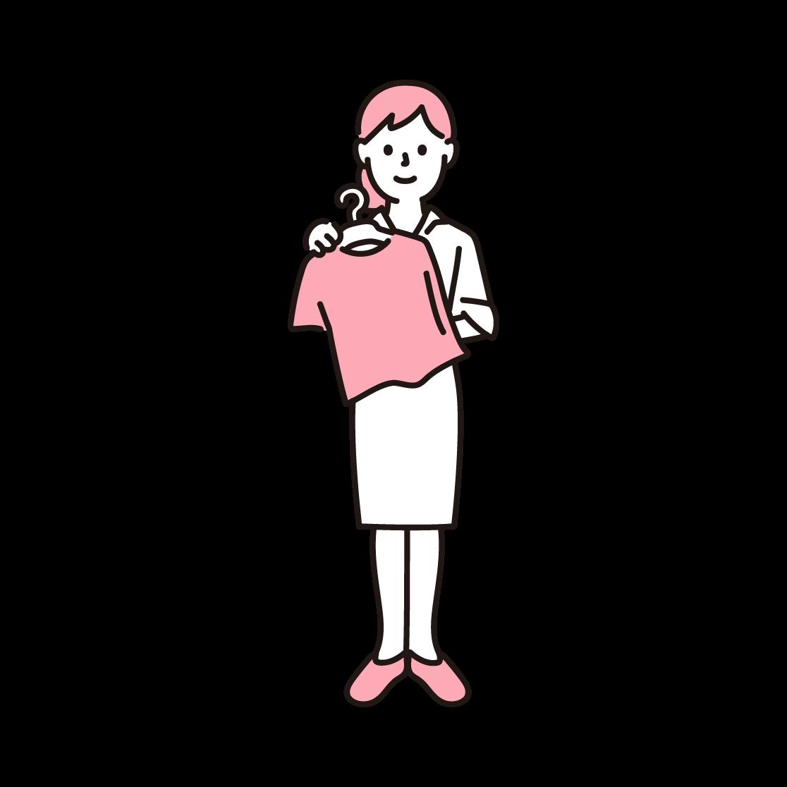 アパレル店員(女性)の単色イラスト