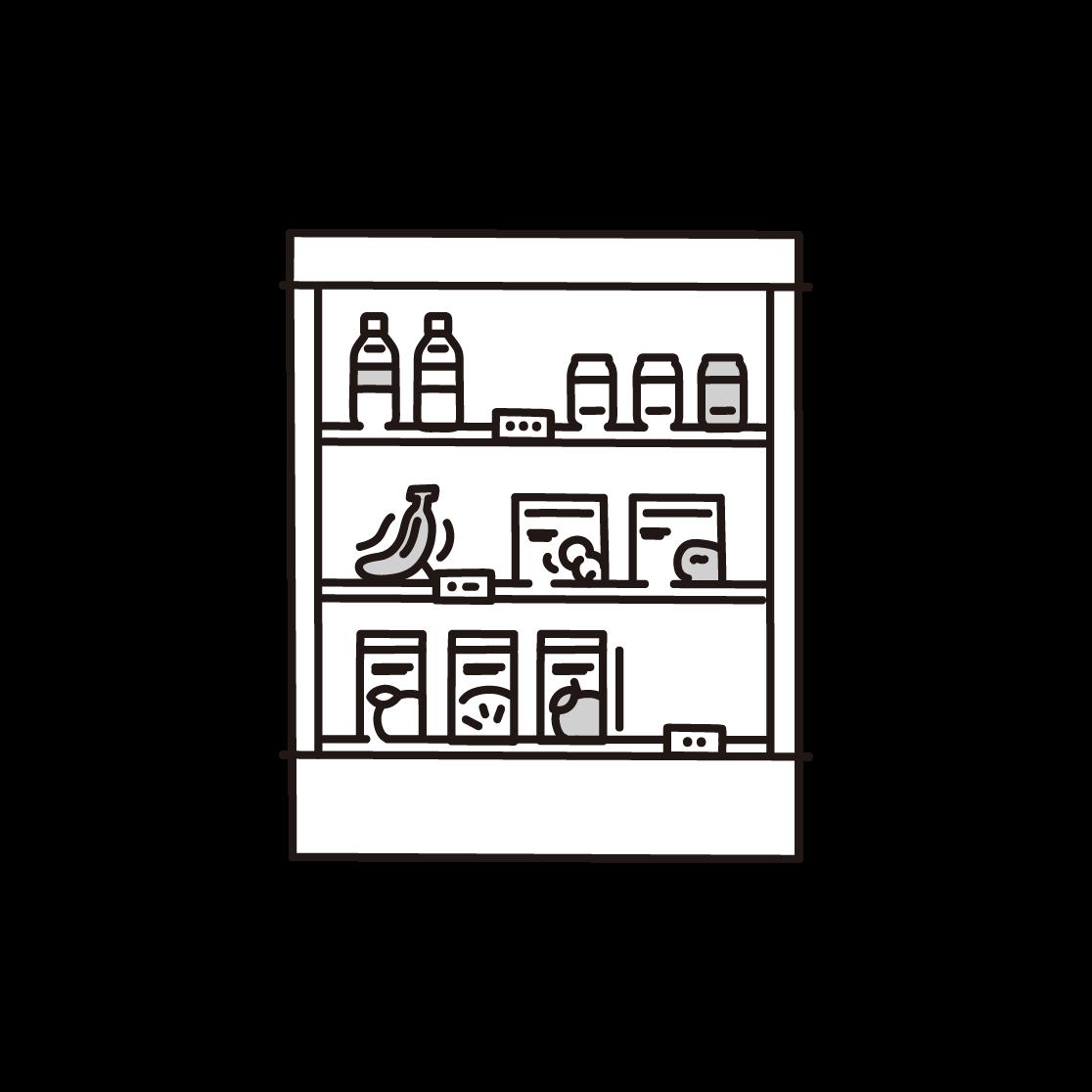 商品棚の単色イラスト