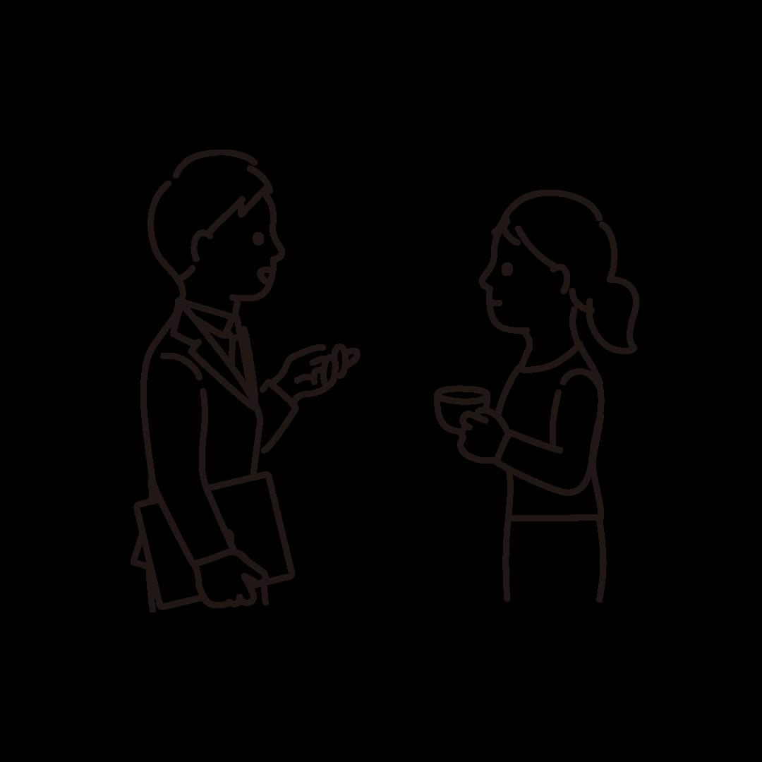 会話する人の線画イラスト