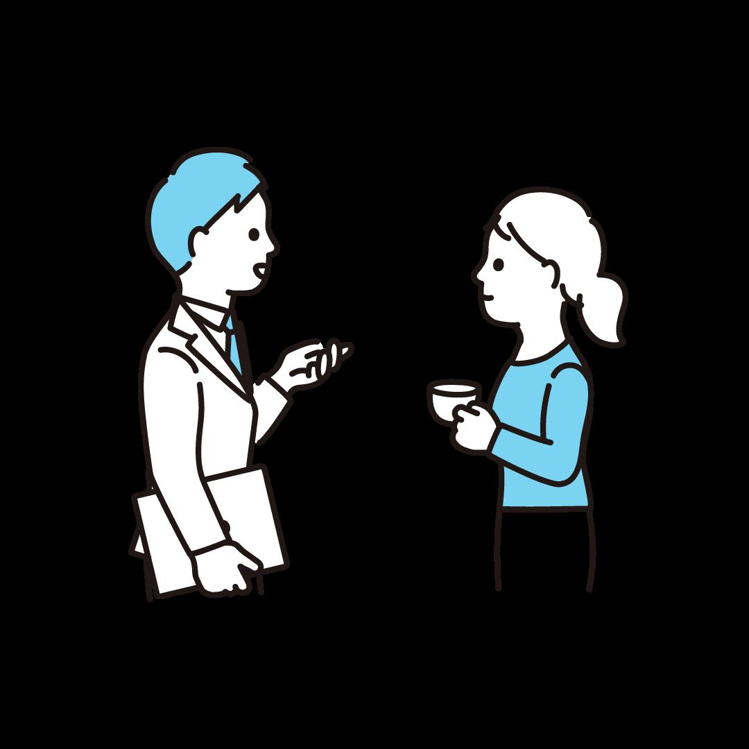 会話する人の単色イラスト