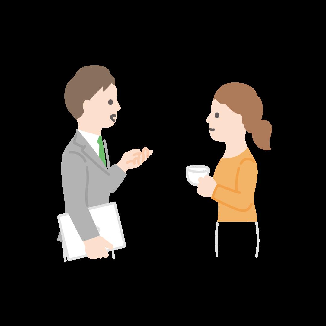 会話する人の塗りイラスト