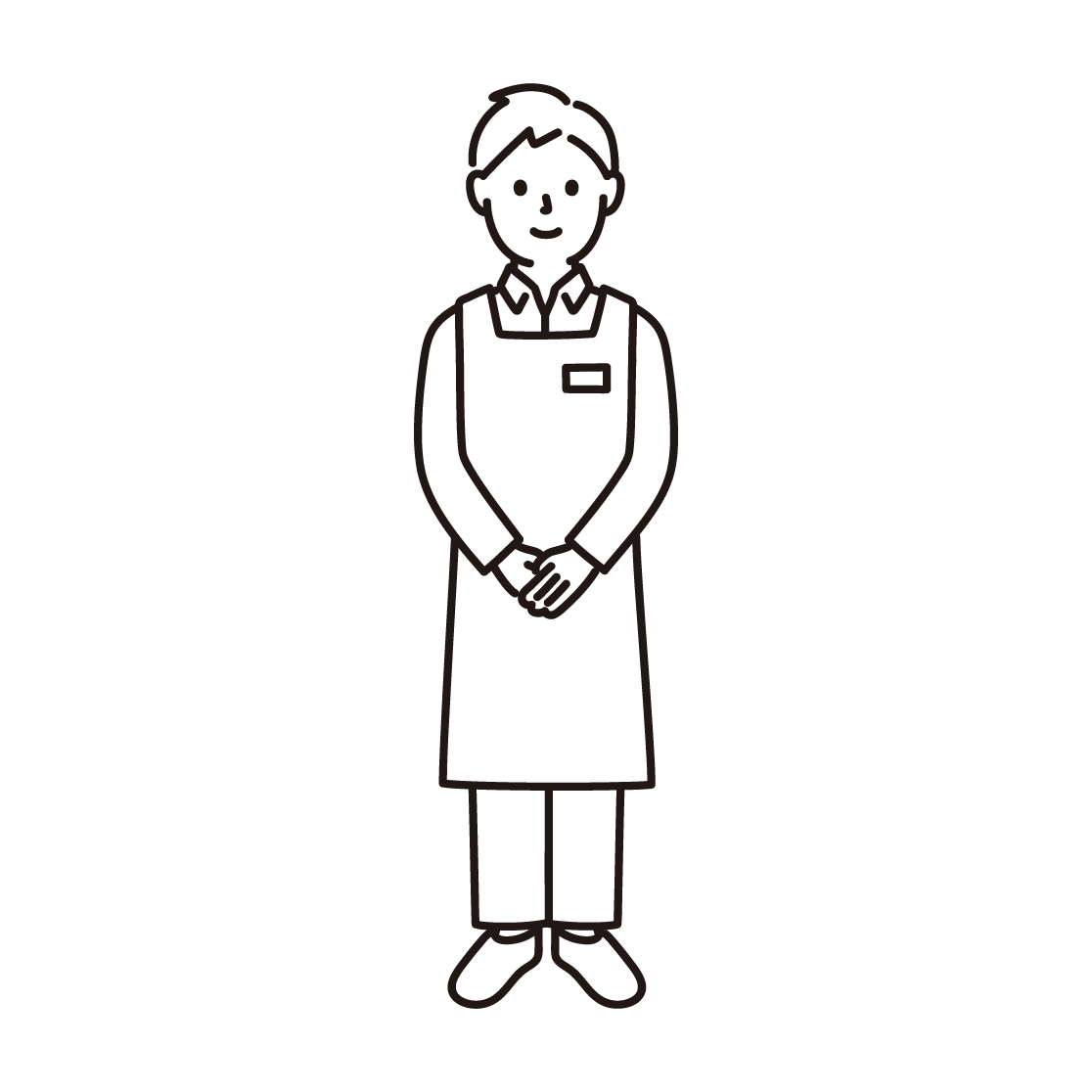 スーパーの店員(男性)の線画イラスト