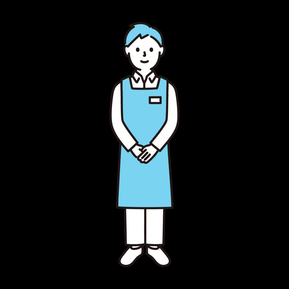 スーパーの店員(男性)の単色イラスト