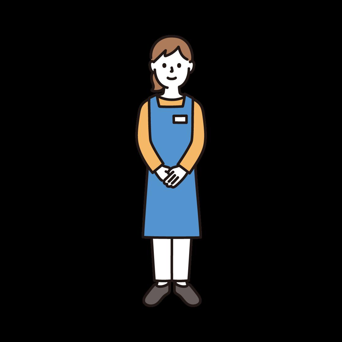 スーパーの店員(女性)のイラスト