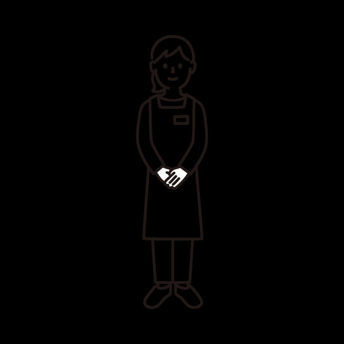 スーパーの店員(女性)の線画イラスト