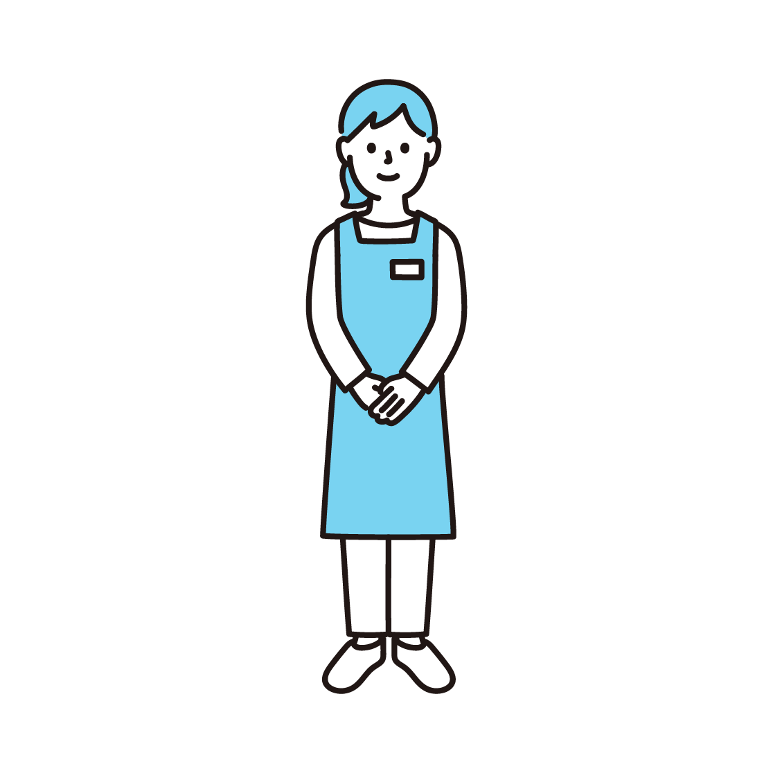 スーパーの店員(女性)の単色イラスト
