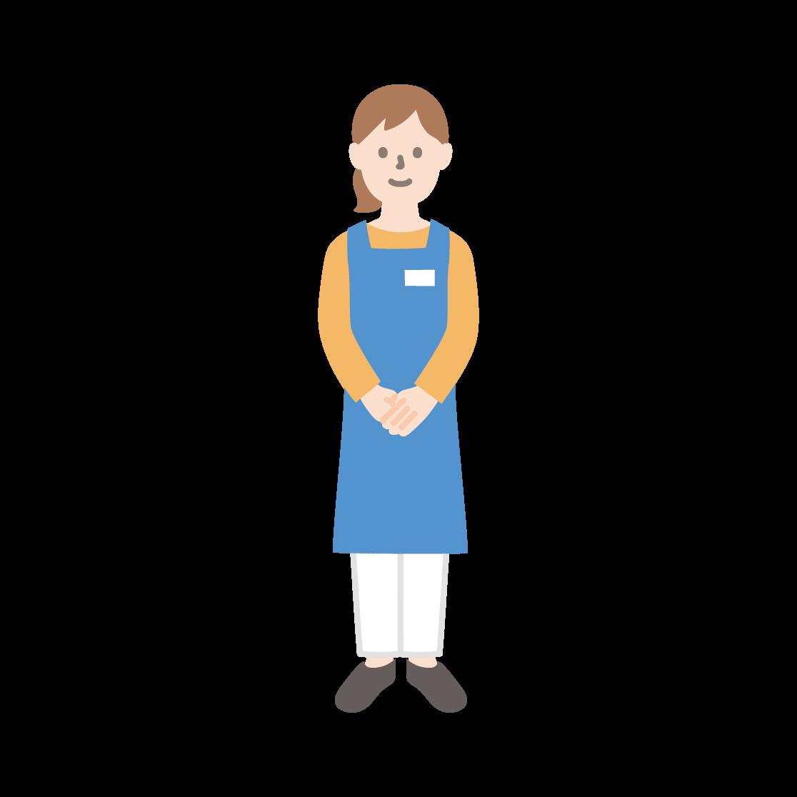 スーパーの店員(女性)の塗りイラスト