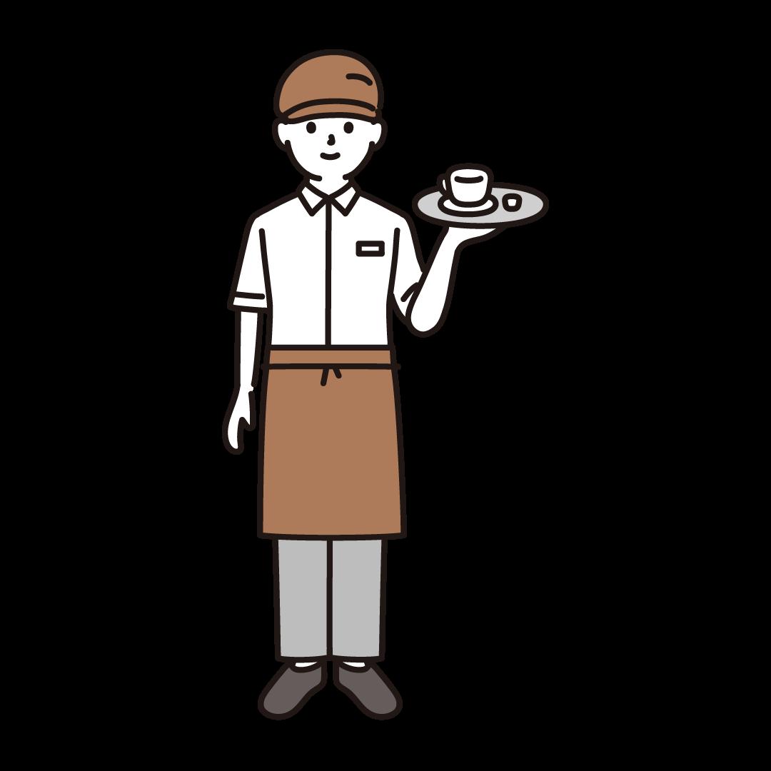 カフェ店員(男性)のイラスト