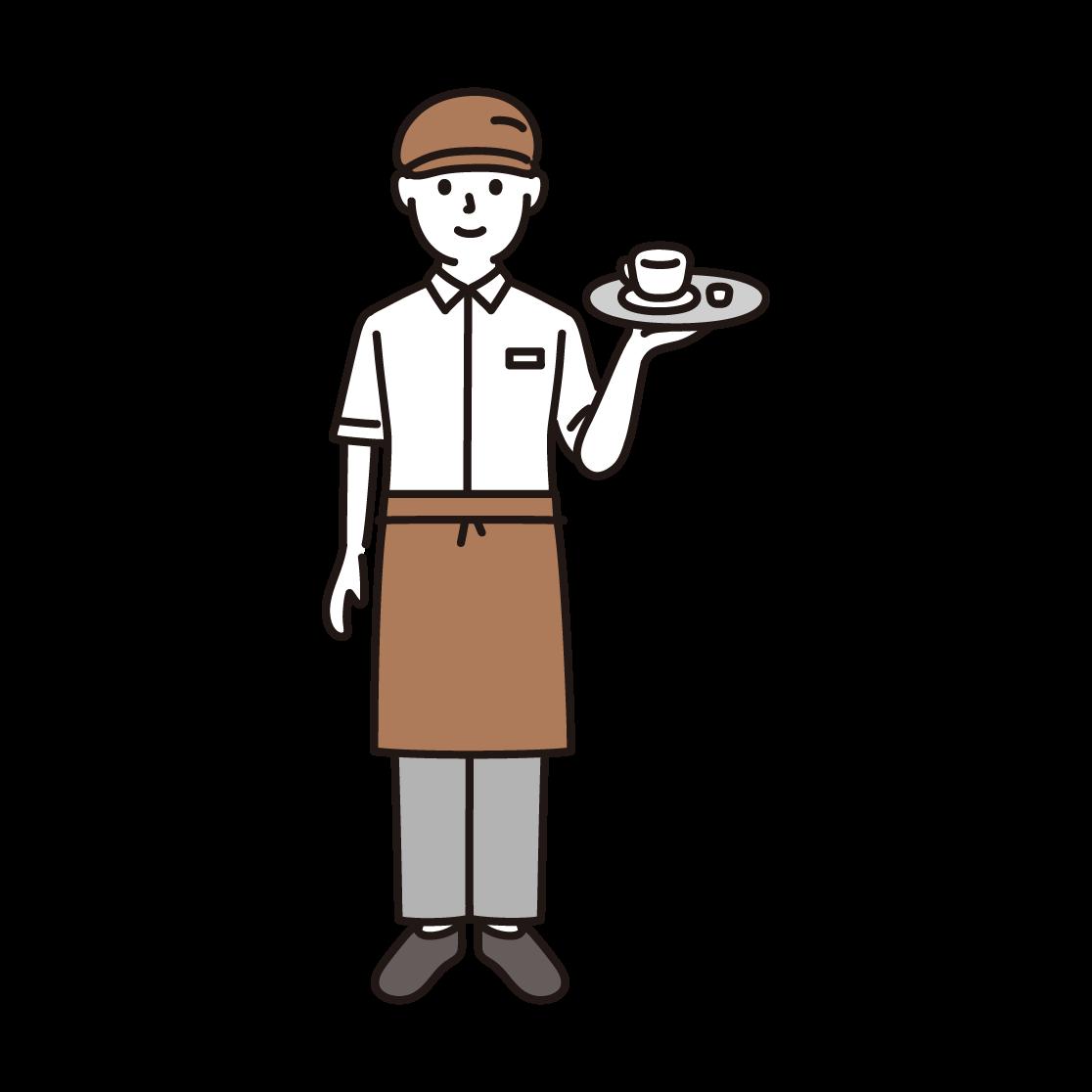 カフェ店員・ウェイターのイラスト