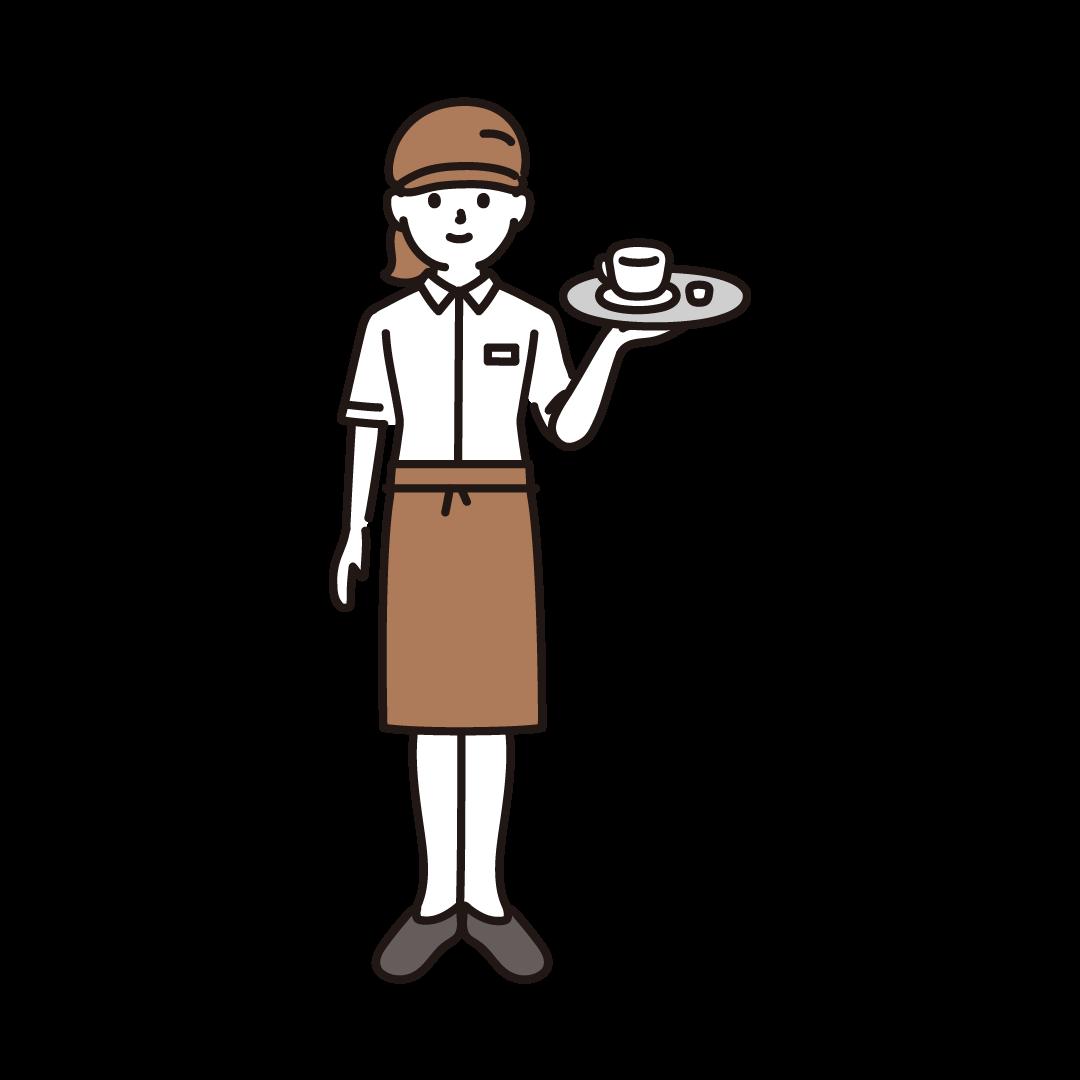 カフェ店員(女性)のイラスト
