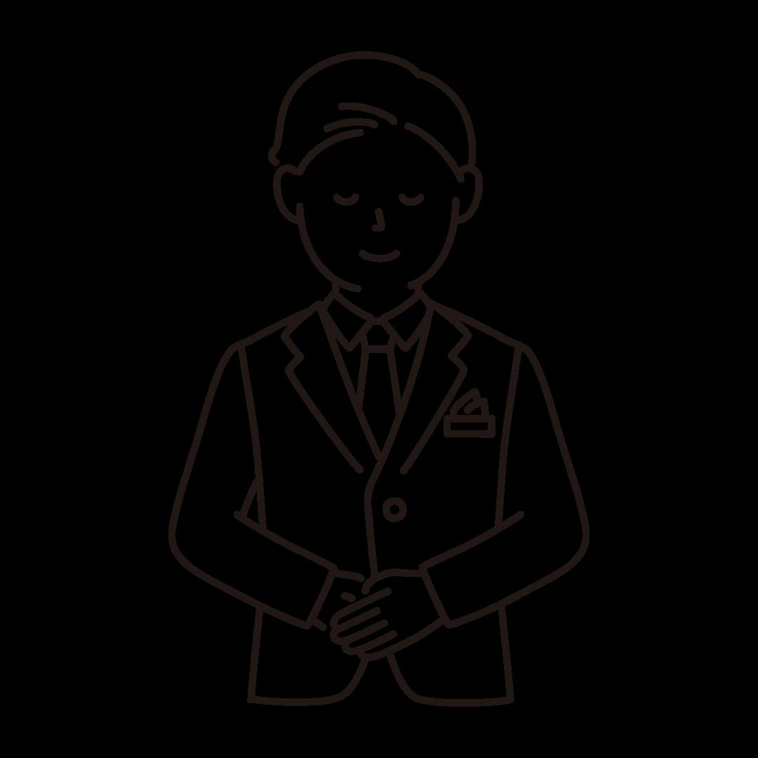 ウェディングプランナー(男性)の線画イラスト
