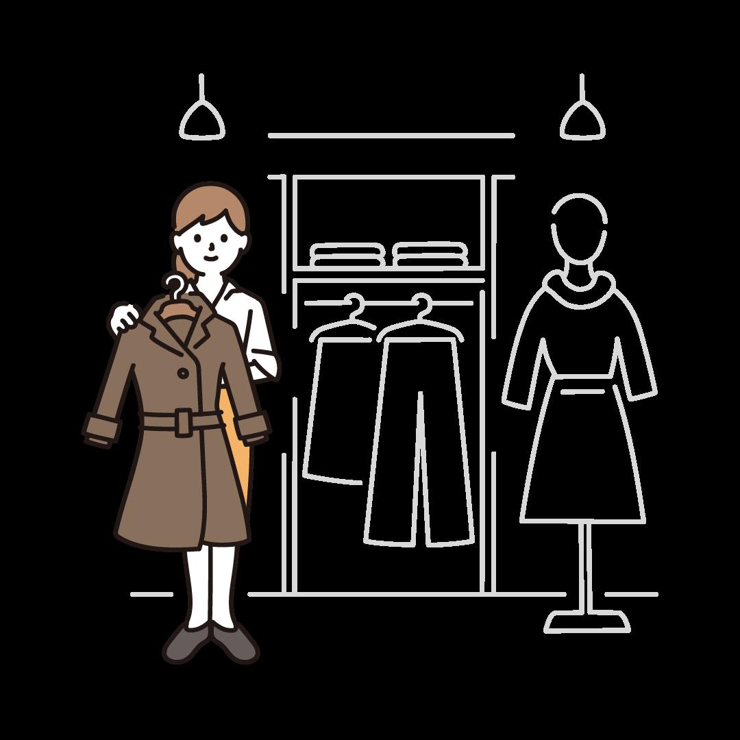 アパレル店舗で接客する女性