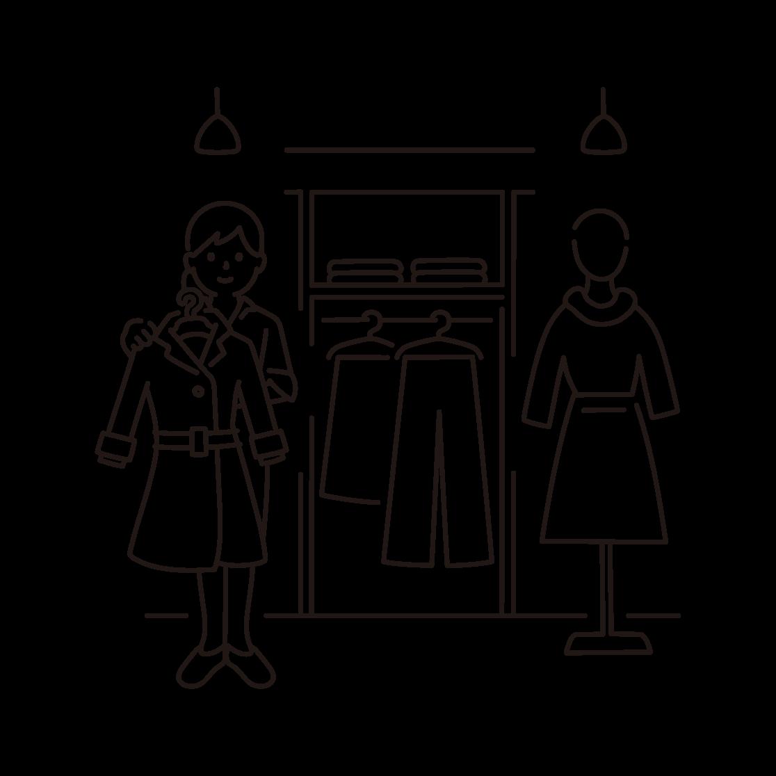 アパレル店舗で接客する女性の線画イラスト