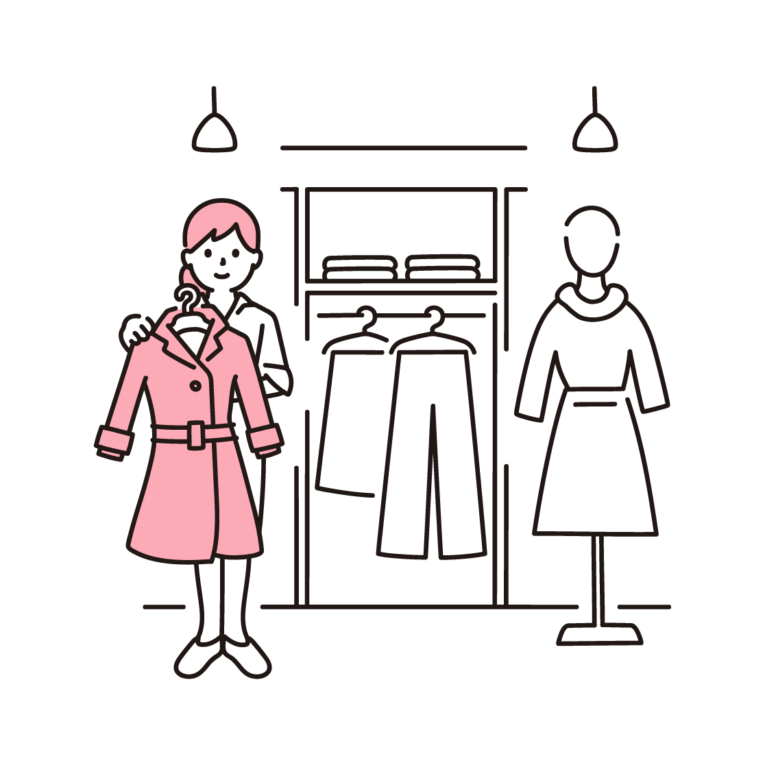 アパレル店舗で接客する女性の単色イラスト