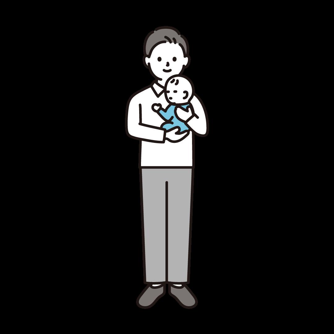 赤ちゃんを抱く男性のイラスト