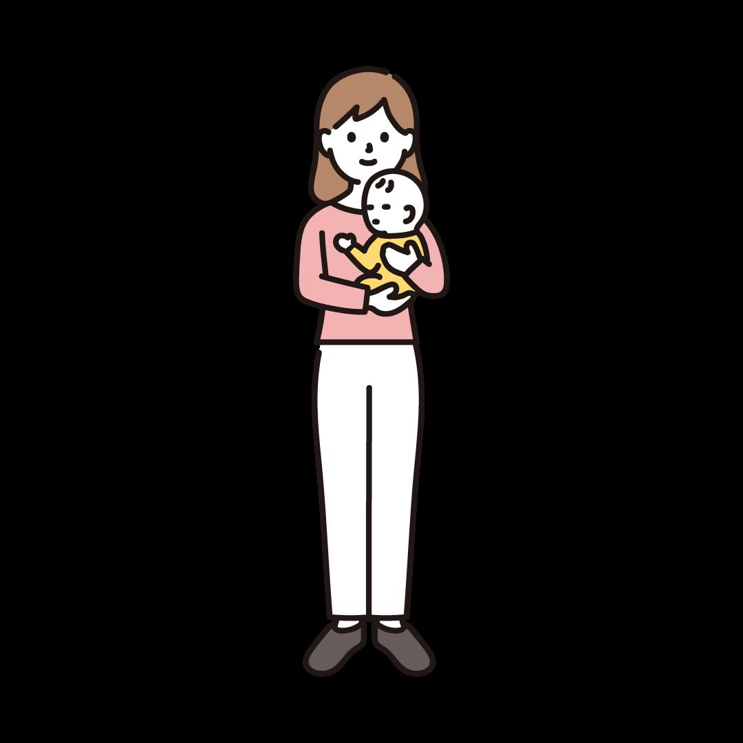 赤ちゃんを抱く女性のイラスト