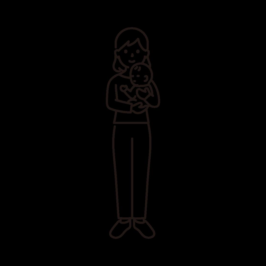 赤ちゃんを抱く女性のイラスト(線画)