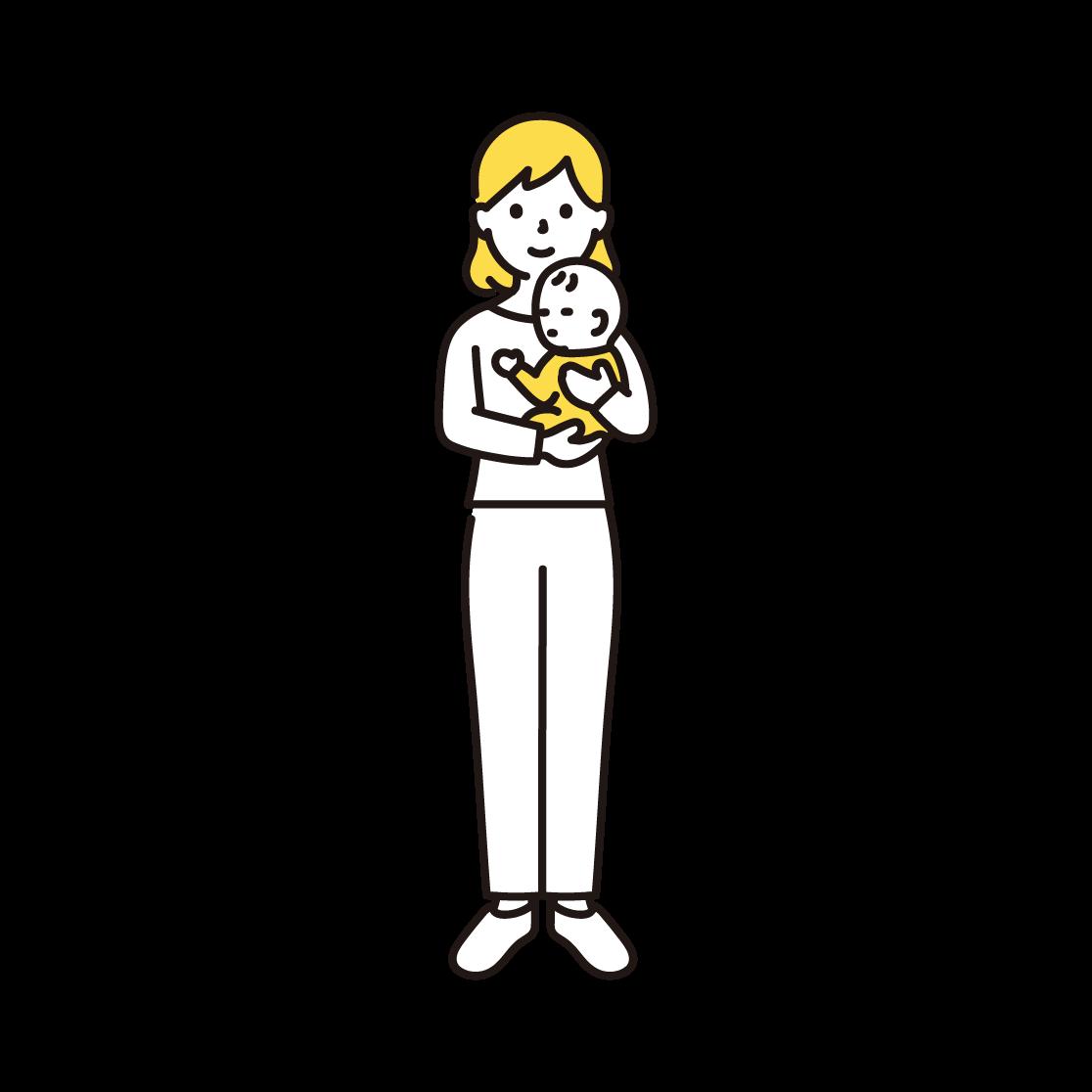 赤ちゃんを抱く女性のイラスト(単色)