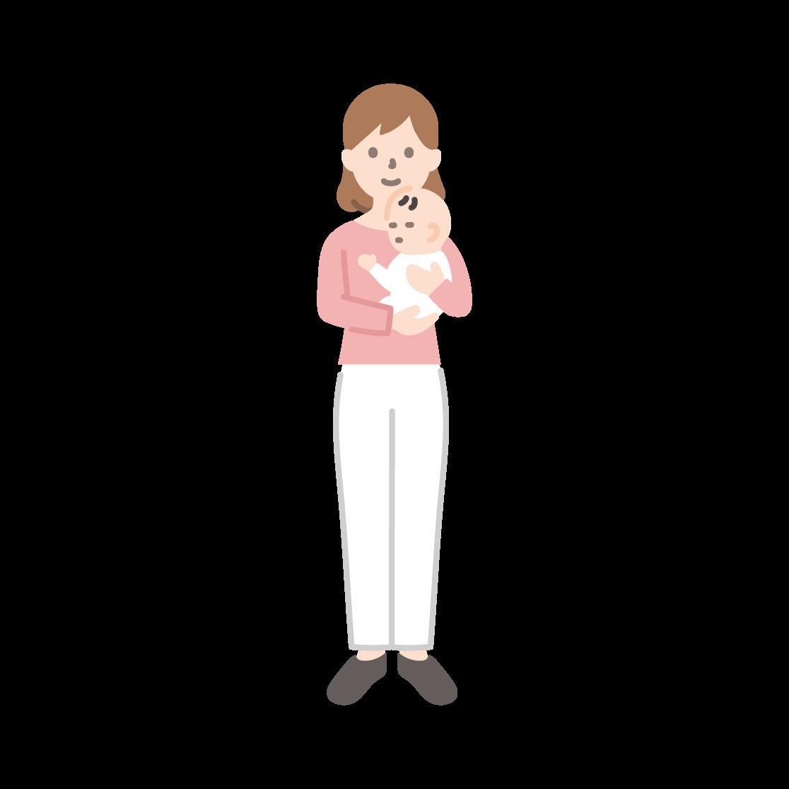 赤ちゃんを抱く女性のイラスト(塗り)
