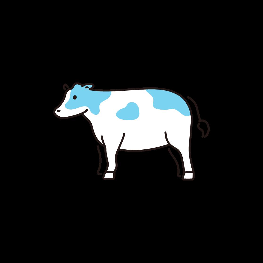 牛の単色イラスト