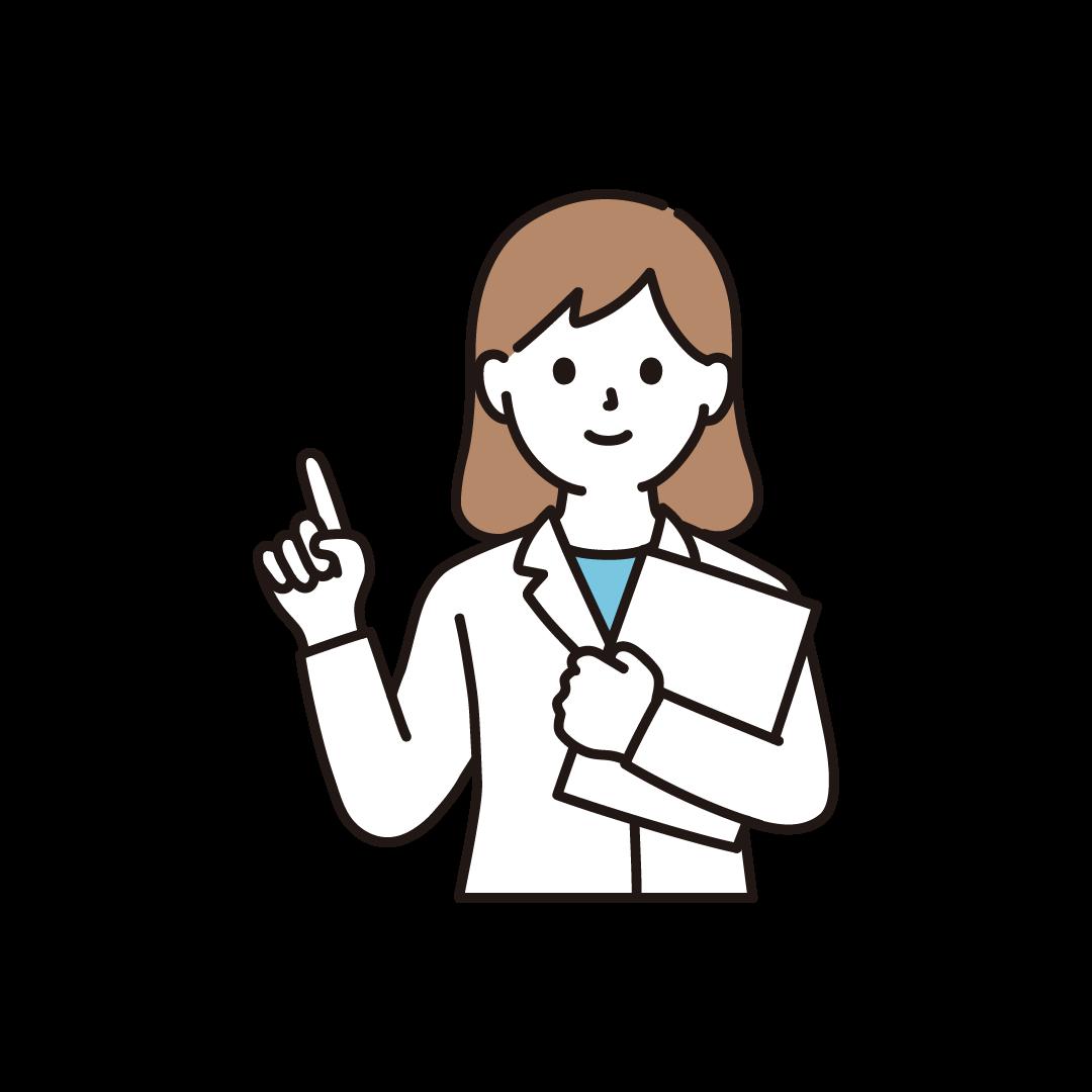 指をさす白衣をきた女性のイラスト
