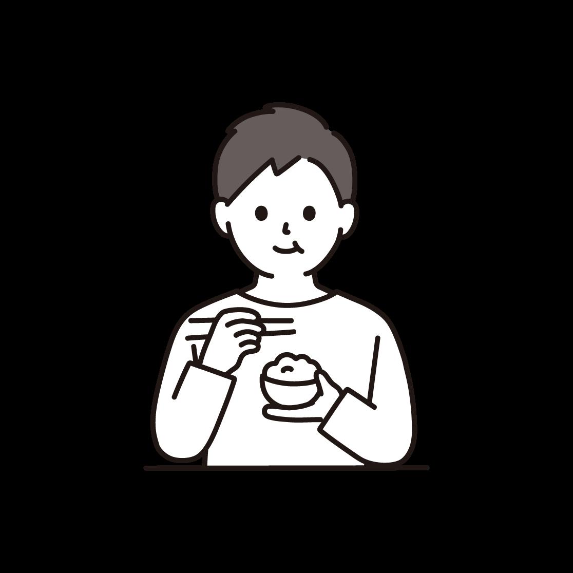 食事をする男性のイラスト