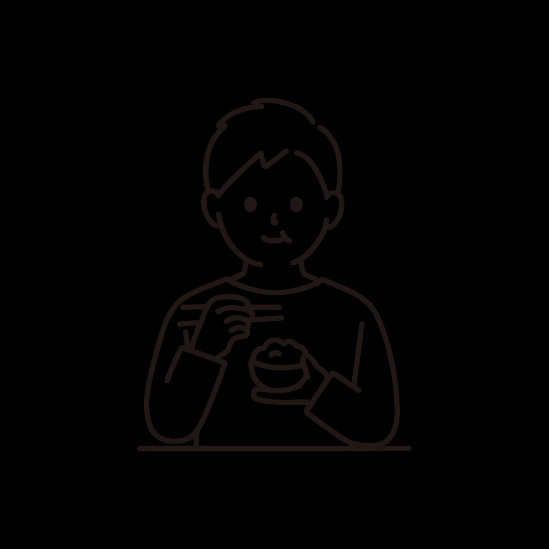 食事をする男性の線画イラスト