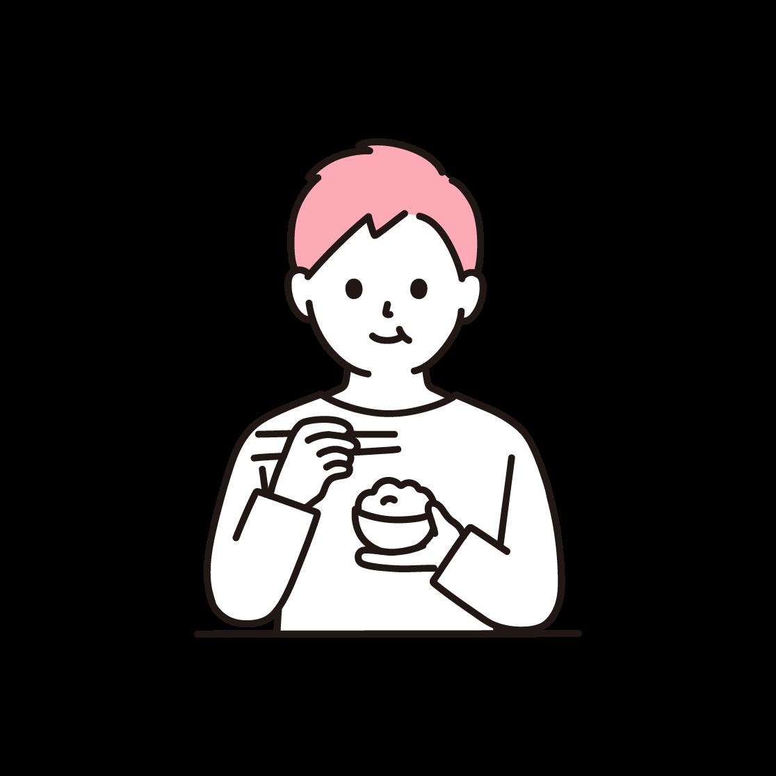 食事をする男性の単色イラスト