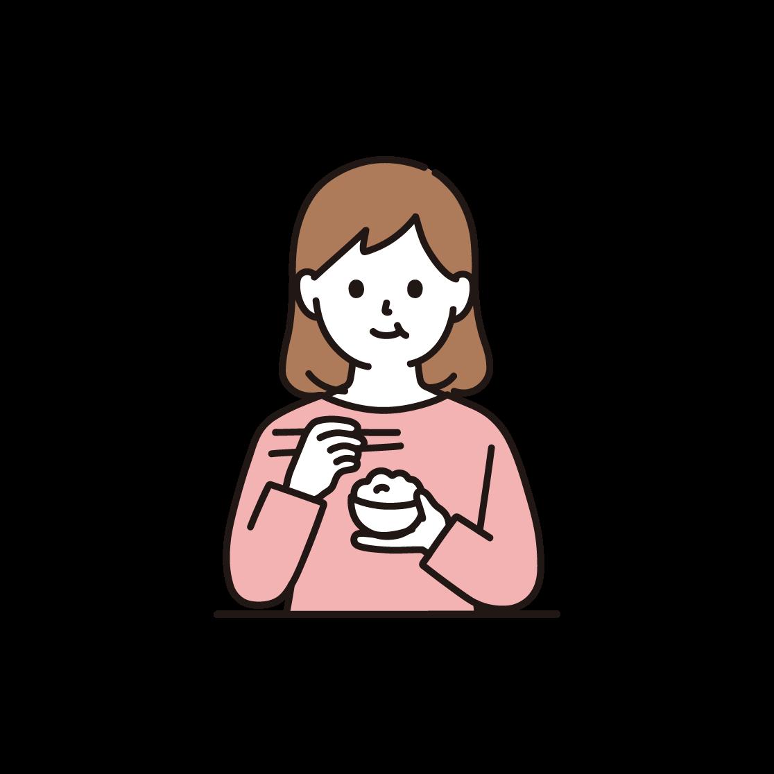 食事をする女性のイラスト