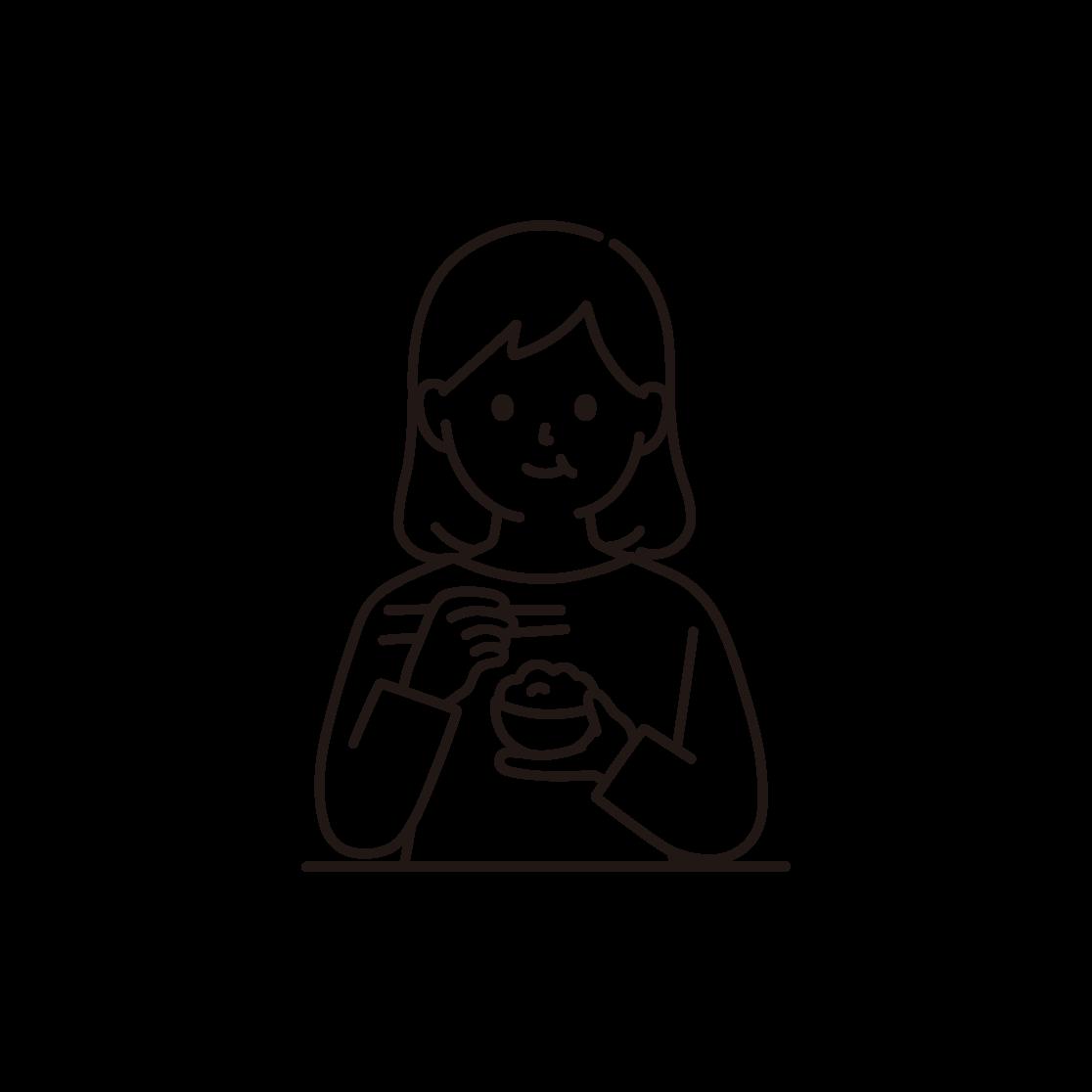 食事をする女性のイラスト(線画)
