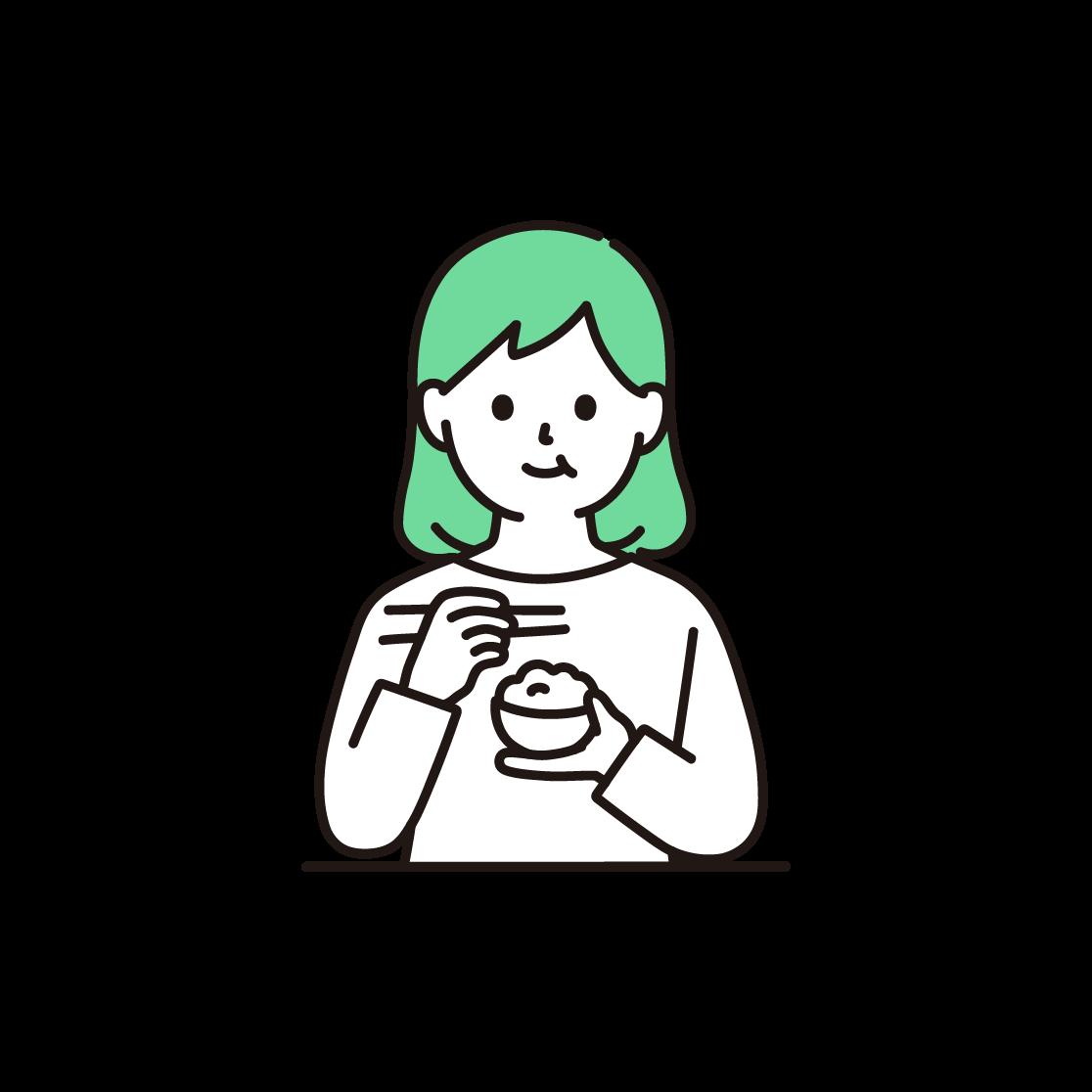 食事をする女性のイラスト(単色)