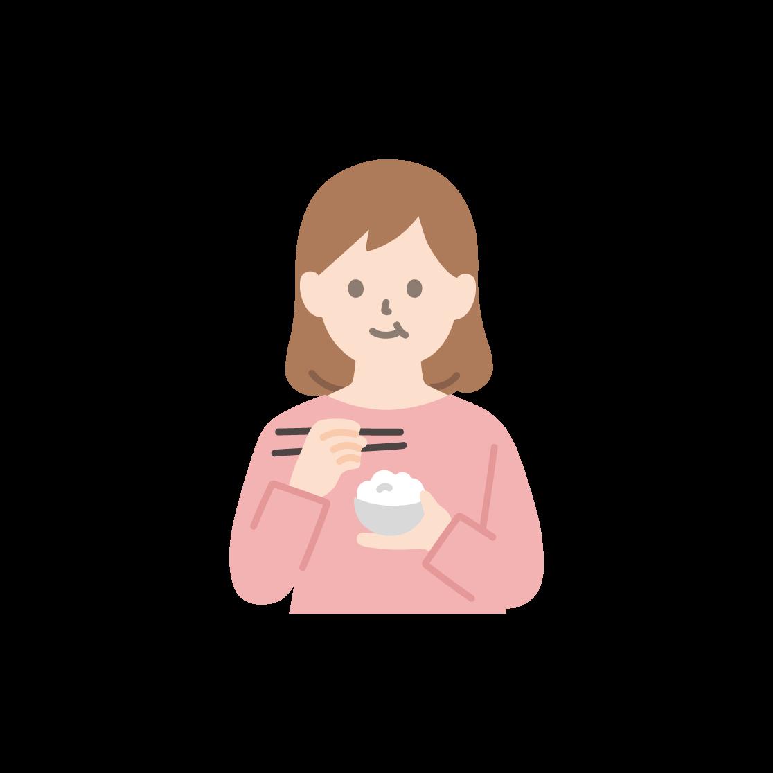 食事をする女性のイラスト(塗り)