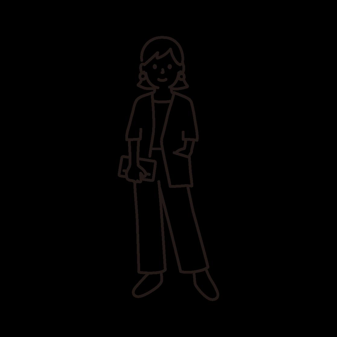 おしゃれな女性の線画イラスト