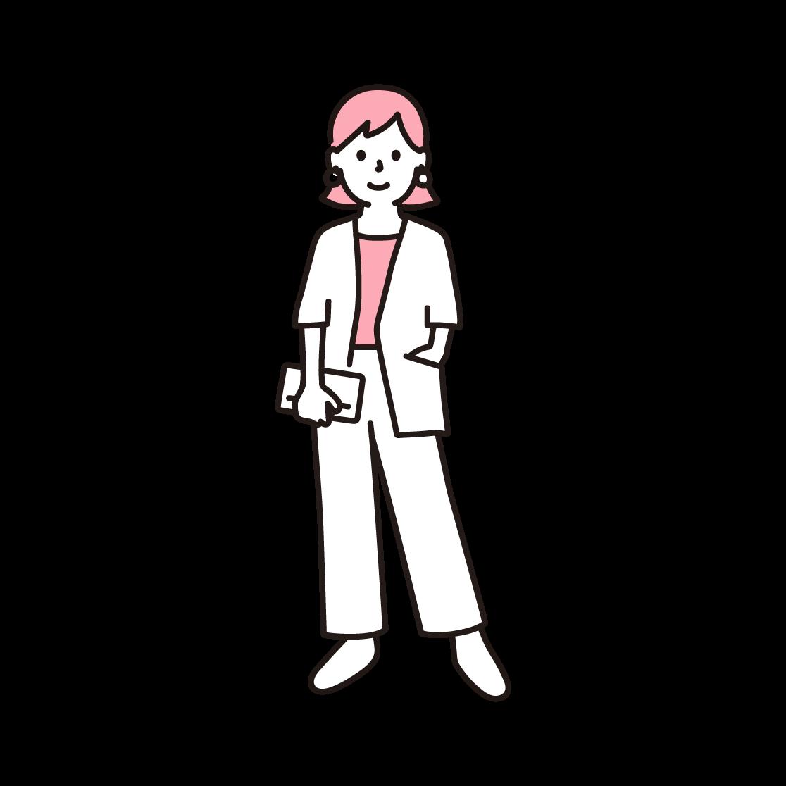 おしゃれな女性の単色イラスト