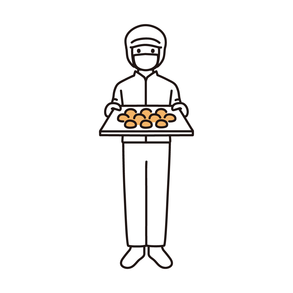 パン工場の男性スタッフのイラスト