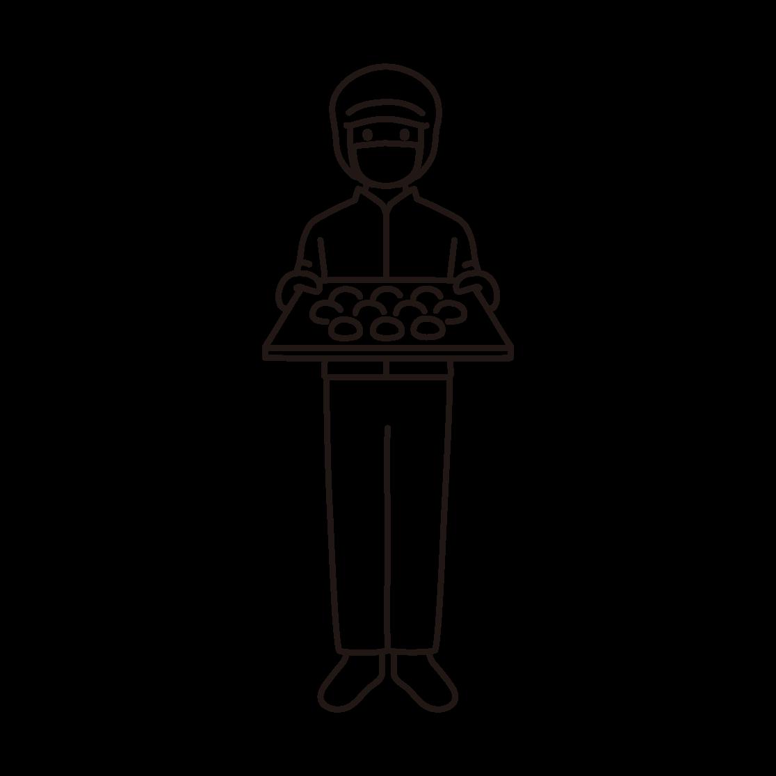 パン工場の男性スタッフの線画イラスト