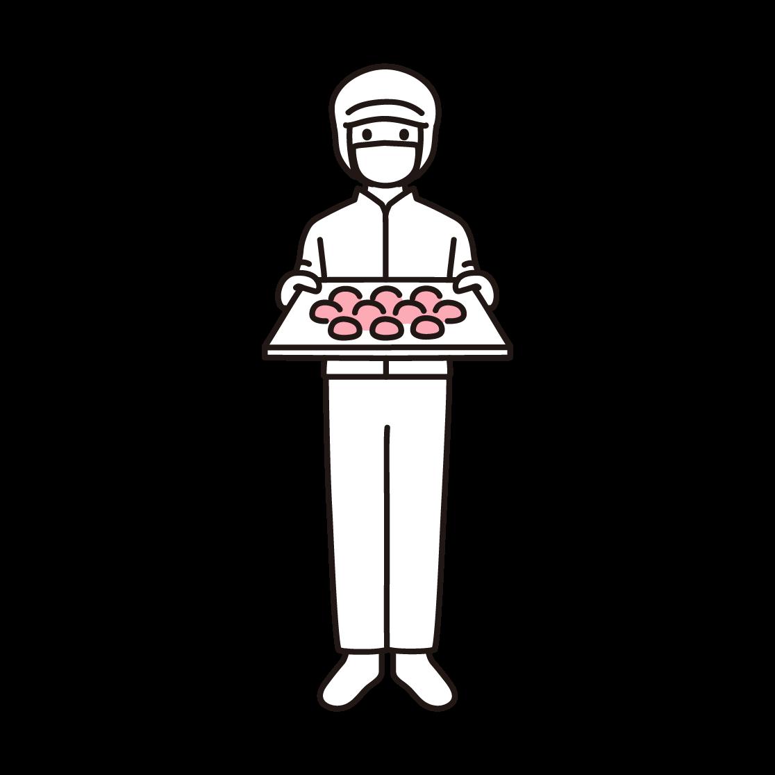パン工場の男性スタッフの単色イラスト