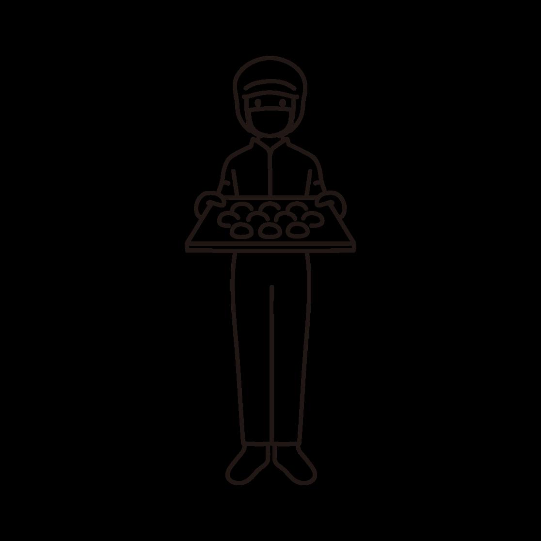 パン工場の女性スタッフの線画イラスト