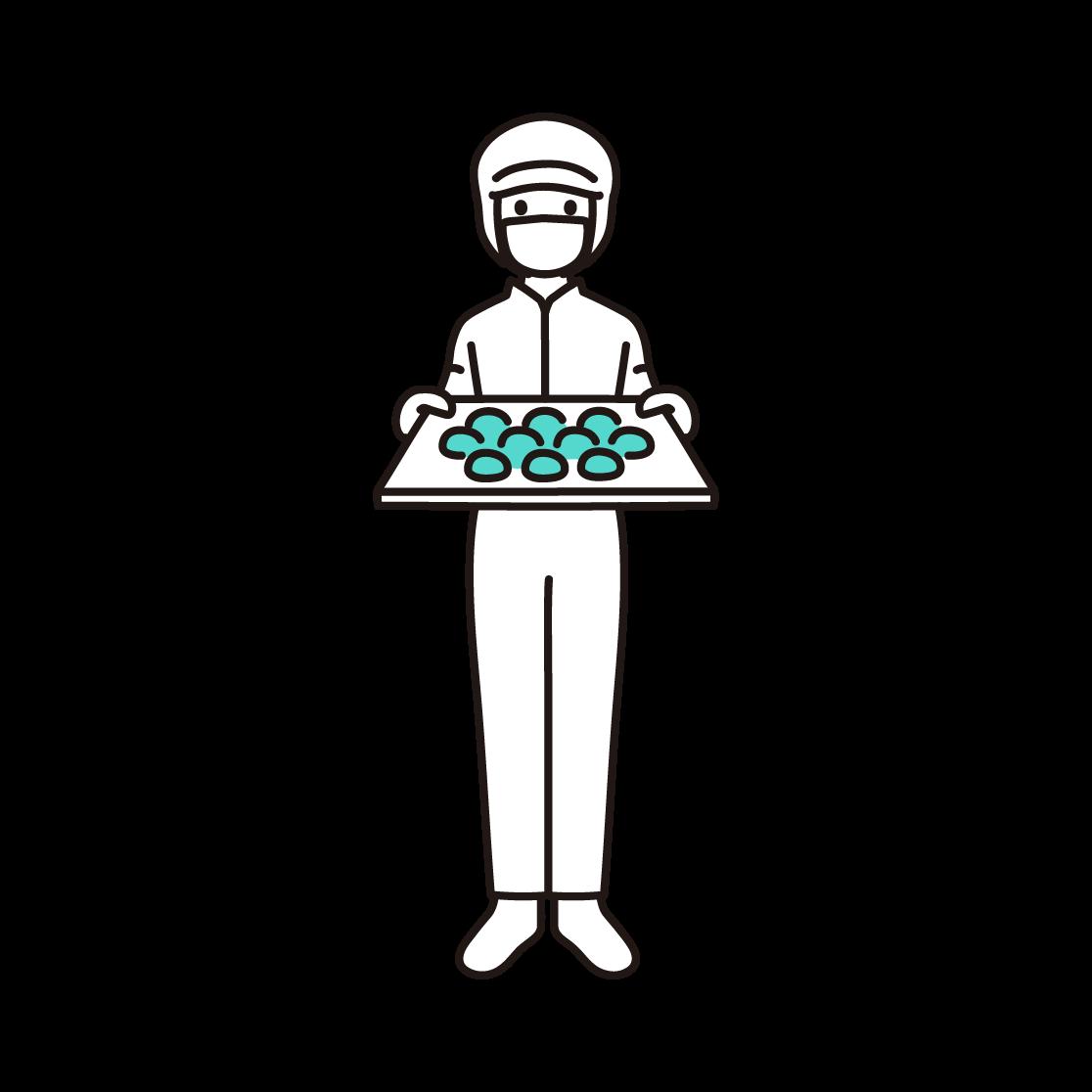 パン工場の女性スタッフの単色イラスト