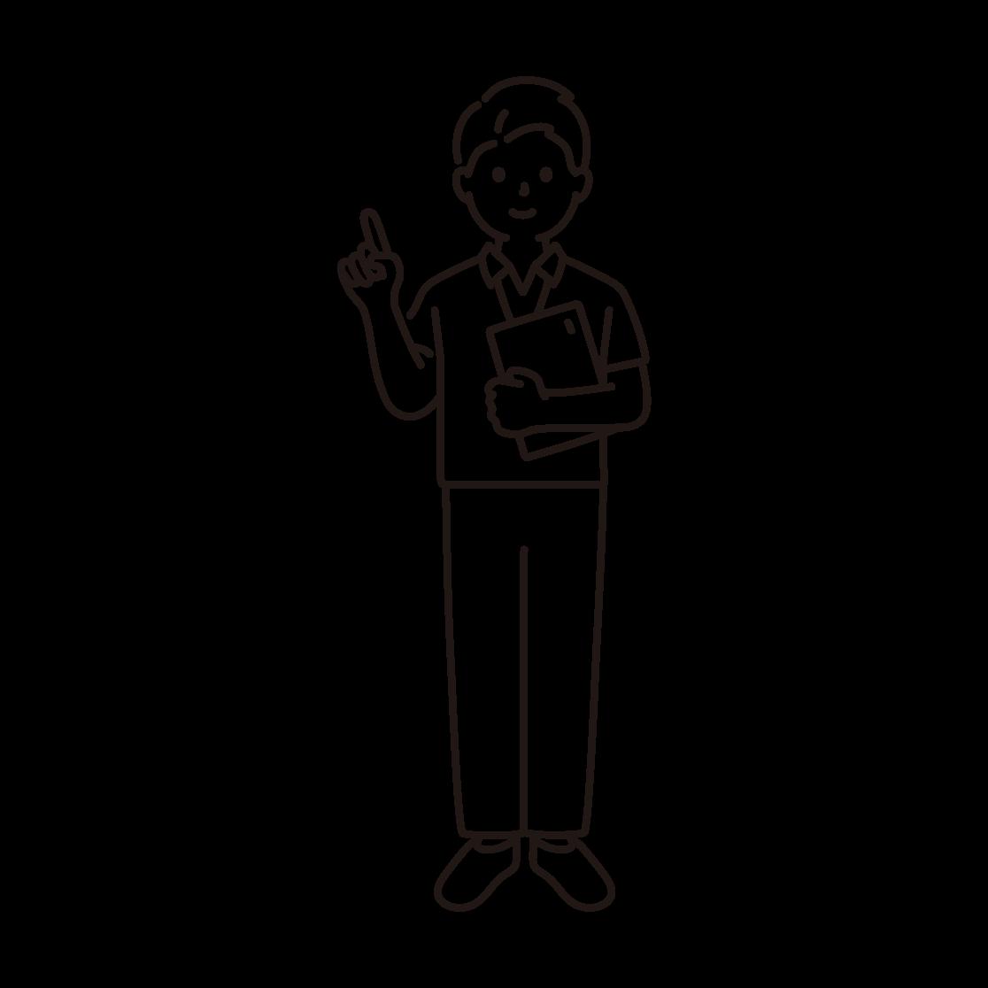 スポーツジムのインストラクター(男性)の線画イラスト