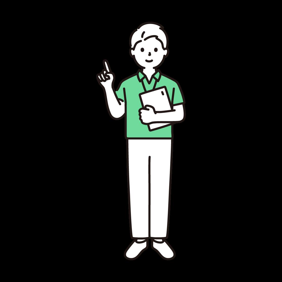 スポーツジムのインストラクター(男性)の単色イラスト