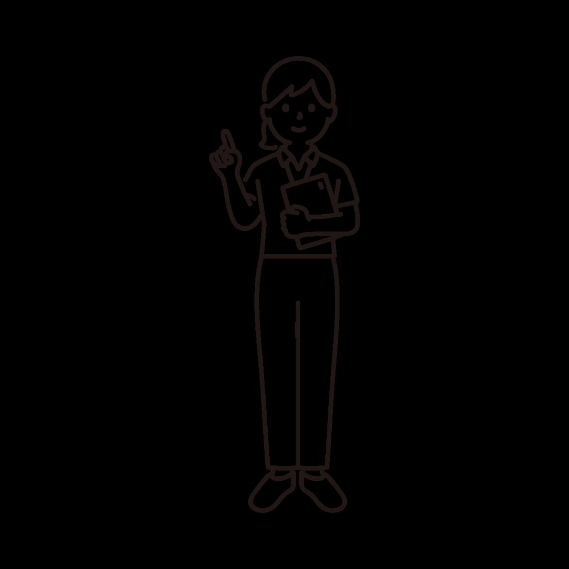 スポーツジムのインストラクター(女性)の線画イラスト