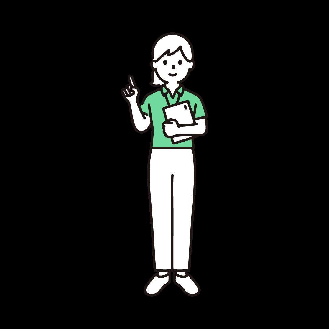 スポーツジムのインストラクター(女性)の単色イラスト