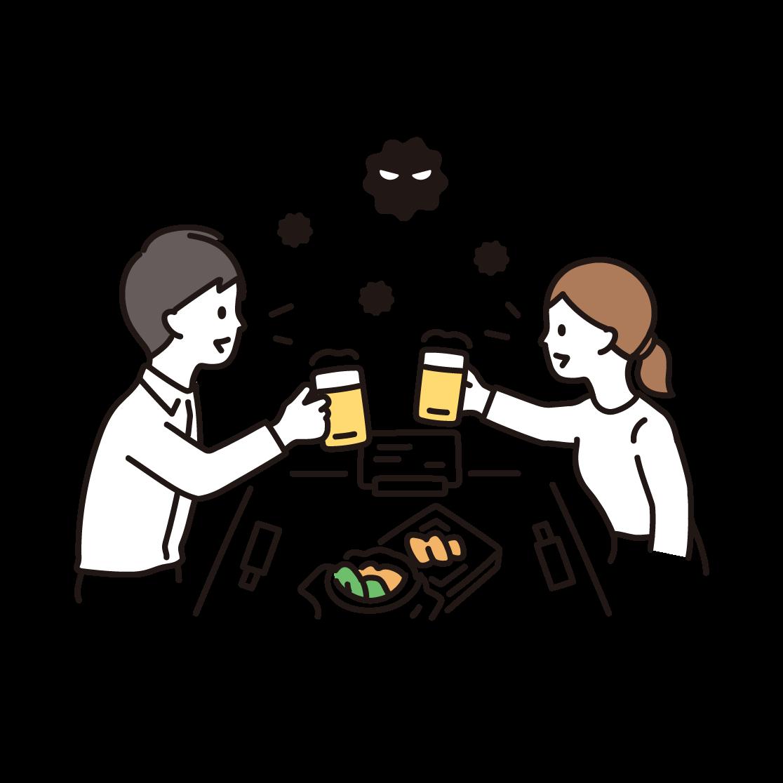 飲食(飛沫)のイラスト