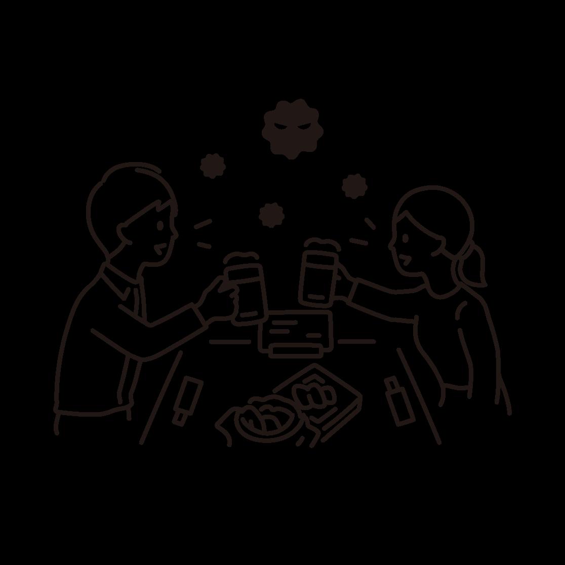 飲食(飛沫)の線画イラスト
