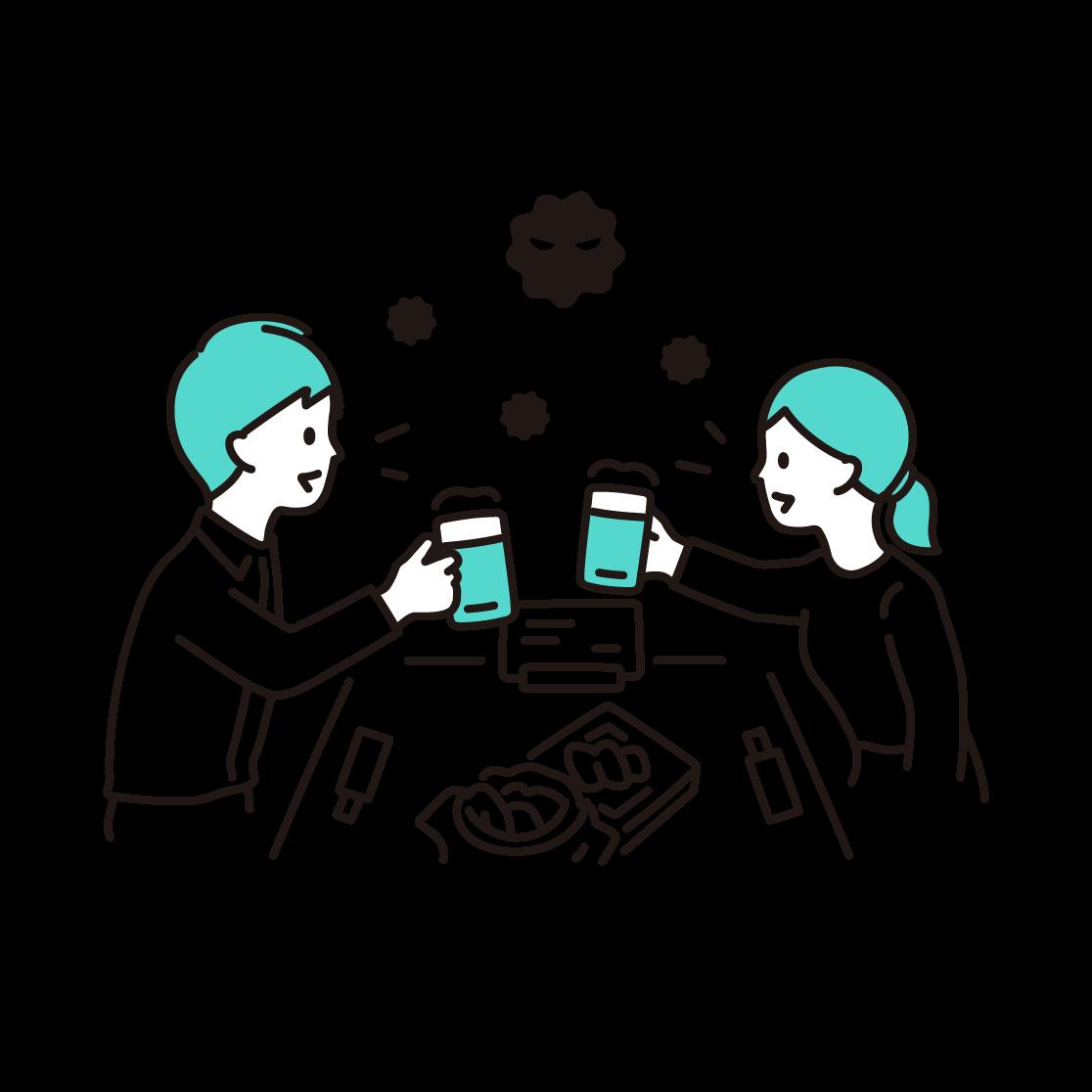 飲食(飛沫)の単色イラスト