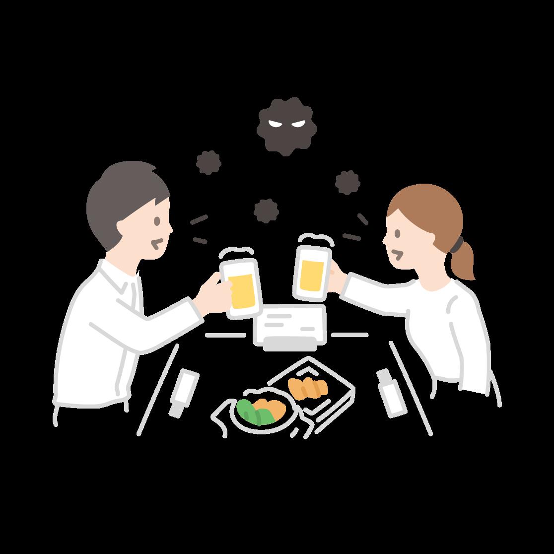 飲食(飛沫)の塗りイラスト