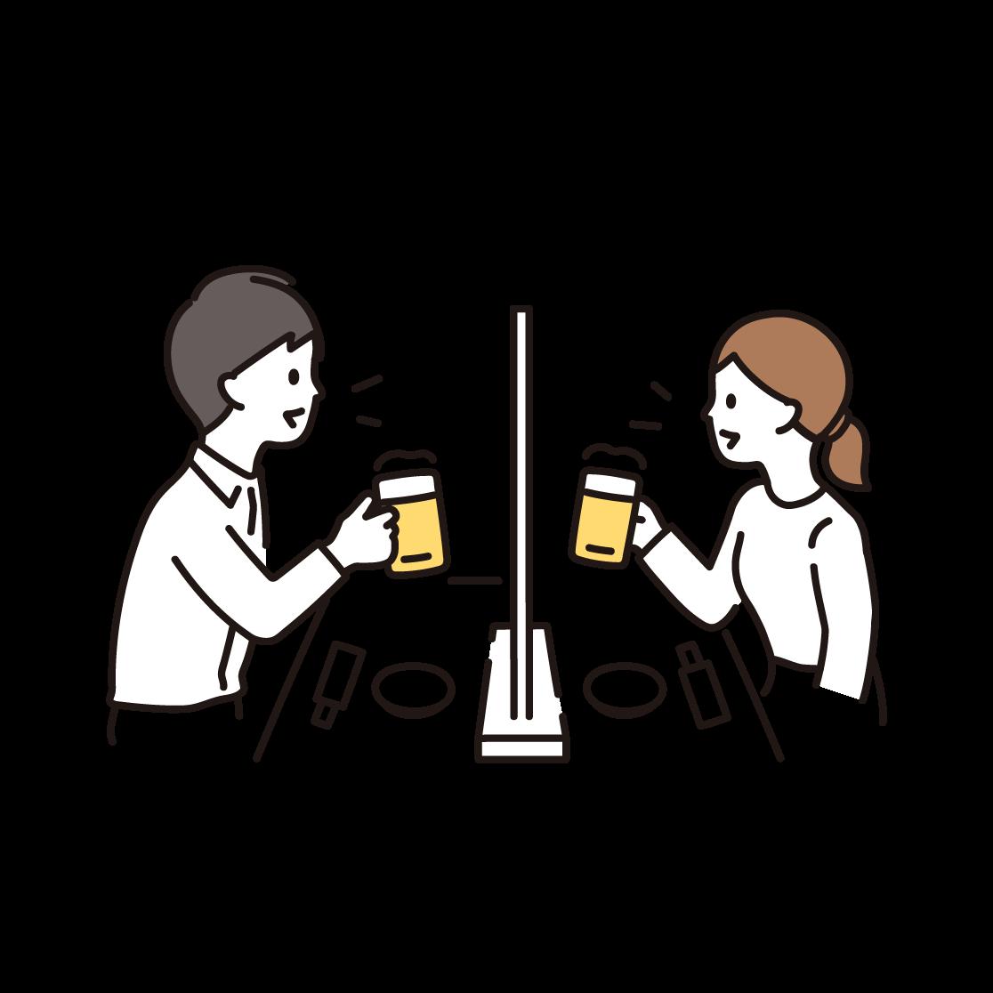 飲食(間仕切り)のイラスト