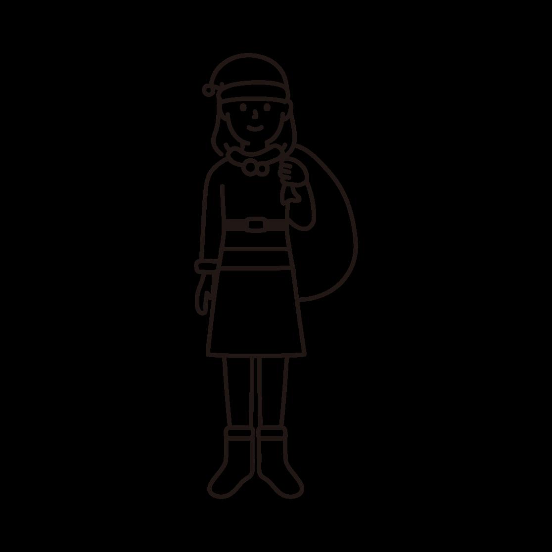 サンタクロース(女性)の線画イラスト