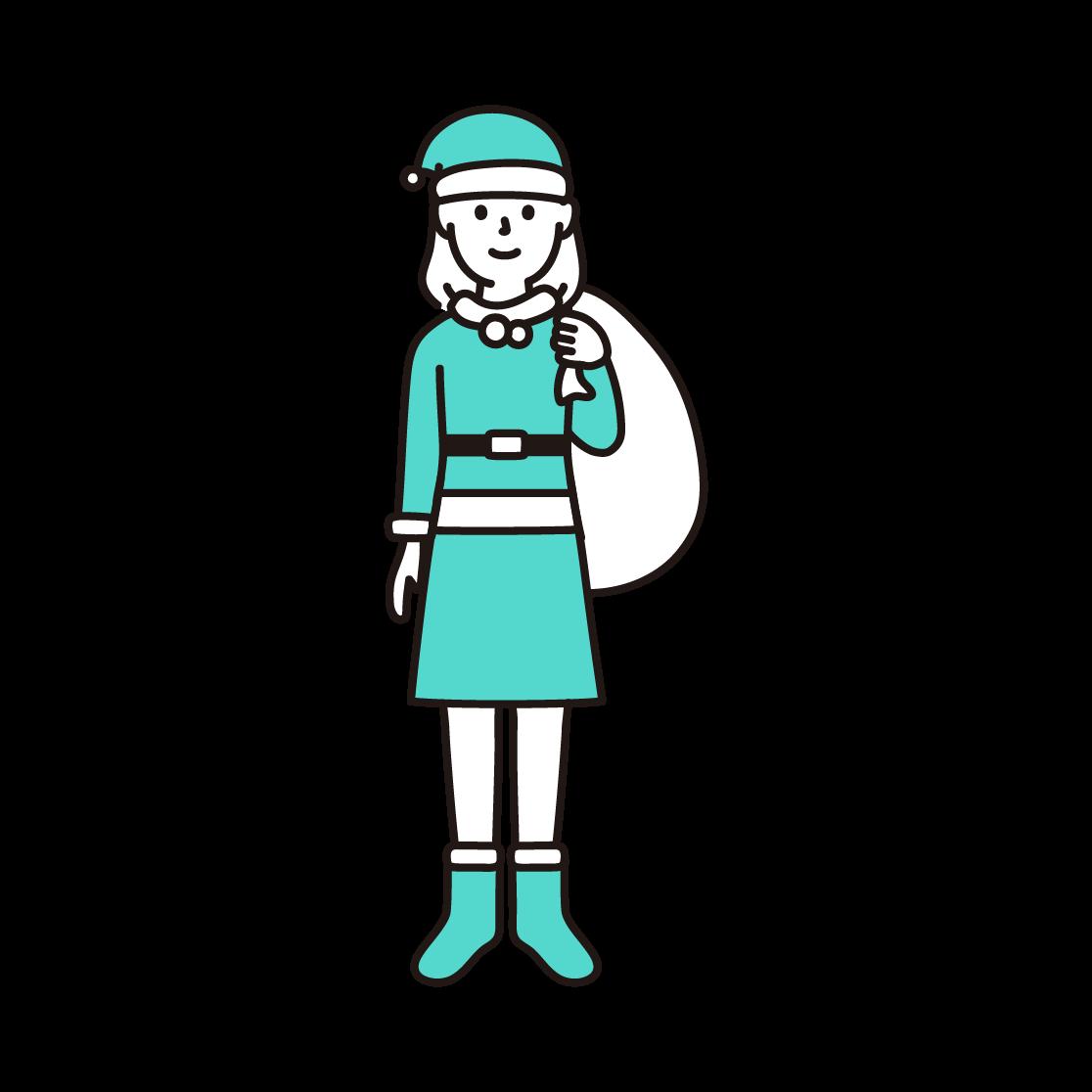 サンタクロース(女性)の単色イラスト